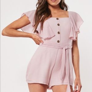 Missguided Pink Button Front Romper